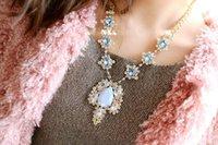 österreich blumenanhänger großhandel-Elegant Flower Stil eingelegten Österreich Kristall Halsketten Anhänger von Swarovski Crystal Glittering Boutique Frauen Halskette Marke Pullover Kette