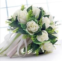 ingrosso bridesmaid hand bouquet-Handmade New Wedding Bridal Bridesmaid Bouquet Bouquet da sposa Bianco Verde Artificiale Rose Flowers Hand Holding Flower Home Decor