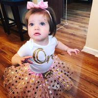 Wholesale golden short dresses resale online - 2018 Girls Fashion Sets Dress Baby One Print Climb Romper With Golden Polka Dot Print Tutu Skirts Sets for M