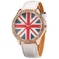 ingrosso bianca orologi ragazza-Donna Lady Girl Union Jack Uk British Flag in pelle bianca orologio al quarzo WAA211