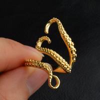 polvo de ouro venda por atacado-Titanium Aço Lula Octopus Bandas Anéis de Ouro Anéis de Dedo de Prata Animal Anéis Moda Jóias Presentes de Natal