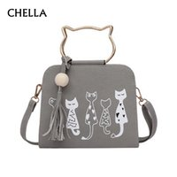 Wholesale Kitty Tote Bag - Women Handbag Cat Pattern PU Leather Female Single Shoulder Bags Cute Kitty Black Messenger Bag Ladies Fashion Tote Bolsa SS0347