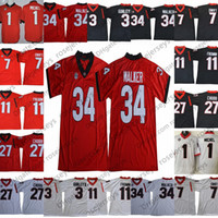 Wholesale black vintage shorts - NCAA Georgia Bulldogs #3 Todd Gurley II 34 Herchel Walker White Red Black Retired Stitched 2018 UGA College Football Vintage Jerseys S-3XL