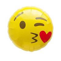 globos de latex amarillo al por mayor-Festival Decoración Globo Expresión Juguetes Cumpleaños Arreglo Decoración Suministros Personificación Cara redonda Latex Amarillo Air Ball
