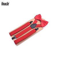 Wholesale people clips - Suspensorio AdultoThree-clip Y- shaped Suspenders Bow Tie Set Male Braces for Trousers Red Black Bretelles Pour Homme for People