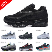 Wholesale Mens Running Shoes Best - Drop Shipping Hight Quality New Mens Sports 95 Running Shoes Black White Men best Athletic walking Tennis Shoes Grey Man Training Sneakers