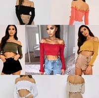 Wholesale shirt frill - Fashion Women Off Shoulder Crop Top Long Sleeve Frill Blouse Shirt Sweater T-shirt 7 Color Jumpers Knitwear Mini Casual EEA152