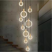 led-beleuchtung innen treppe großhandel-Zeitgenössische Holz LED Kronleuchter Beleuchtung Acryl Ringe Led Droplighs Treppenbeleuchtung 3/5/6/7/10 Ringe Innenleuchte