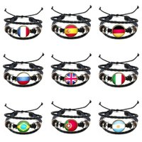Wholesale Tibetan Wristband - 2018 World Cup Silver Tibetan Pu Leather Woven Bracelet Adjustable WristBand Cuff National Flag Punk Chain Bracelet Jelwery