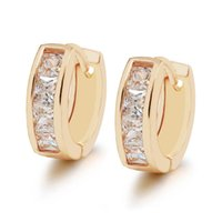 Wholesale zircon copper hoop earrings for sale - E MGFam Costume k Gold Plated Hoop Earrings Jewelry For Women Square Zircon mm with Evironmental Copper