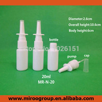 Wholesale hdpe bottles - 100sets lot 20ml HDPE White Plastic Nasal Spray Bottle Empty Nose spray bottle with 18 410 Nasal Oral Atomizers Pump