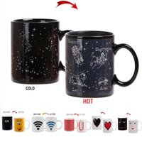 Wholesale ceramic cup magic - Heat Changing Magic Constellation Mug Guild - Stars Appear In the Night Sky Tea Coffee Water Cup Smiling Love Ceramic Cup HH7-1017