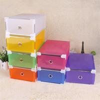 Wholesale women transparent clothing - Transparent Drawer Type Shoe Box Multi Colors Foldable Plastic Storage Containers For Women Rectangle Organizer Hot Sale 4jd XB