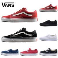 siyah serin ayakkabılar toptan satış-Vans old skool sneakers shoes  2018 Ucuz rahat ayakkabılar siyah mavi kırmızı Klasik erkek kadın sneakers moda Serin rahat ayakkabılar 36-44