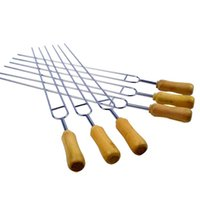 Wholesale Fork Types - Stainless Steel Barbecue Fork With Wooden Anti Scald Handle U Type Roasting Spit Convenient Soft Resuable BBQ Forks Practical 15hh B