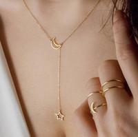 estrela da lua colares venda por atacado-Venda! Dubai nova moda mulheres jóias simples moon star colar de ouro colar de pingente de jóias de casamento acessórios