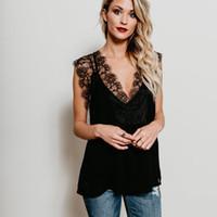 Wholesale Vintage Crochet Vest - 2018 Summer T-shirt Tops Women V Neck Lace Vintage Sleeveless Vest Black White Renda Crochet Casual Shirts Tops Blusas Femininas