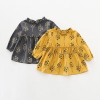 Wholesale Little Trees Wholesale - INS styles new arrival Girl dress kids spring long sleeve little tree print stand collar dress girl elegant dress 2 colors free ship