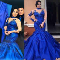 Wholesale evening gowns mesh - Saudi Arabia Royal Blue Prom Dresses High Neck Nude Mesh Plus Size Long Sleeves Evening Gowns Satin Mermaid Forma Women Party Wear