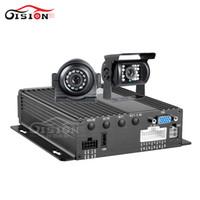 sistemas de grabación de seguridad al por mayor-2 UNIDS 1.3MP Cámara de Visión Nocturna Impermeable + Sistema de Seguridad CCTV 4CH Dual SD Vehcile Reproductor Dvr Móvil I / O Alarma Grabación de Bucle