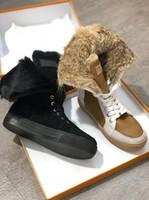 uzun rahat ayakkabılar toptan satış-Moda Kürk Sıcak Sonbahar Kış Takozlar Kar Kadın Çizmeler düz tasarımcı loafer'lar Lady Kısa Çizmeler Rahat Uzun Kar Ayakkabı boyutu 36-42