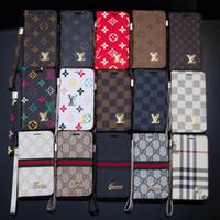 mobile phones оптовых-Известный бренд мобильный телефон кошелек кожаный чехол для iphone X 7 7plus 8 8plus с слотом для карты строп защитная крышка для 6 6S 6plus