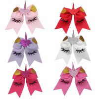 Wholesale Hair Clips Bows Lace Girls - 6pcs 6'' Valentine cheer bow Hairpins hair bands love Ribbon unicorn Cheerleading Bow With Clip Girls Handmade Hair Accessories