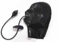 bdsm sex hood toptan satış-Fermuarlı Lateks Seks Hood Esaret Kafa Maskesi ile Şişme Ağız Gag Kauçuk BDSM Fetiş Oynamak için Seks Oyuncakları Siyah Lady
