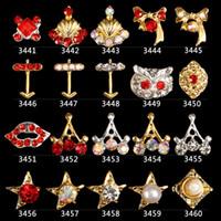 ferramentas de qualidade japonesas venda por atacado-Alta qualidade new popular japonês liga de cinco estrelas coroa vermelho pérola strass flash DIY moda nail art decoração ferramentas