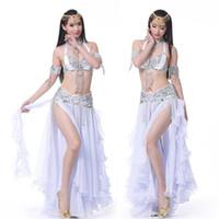 Wholesale new arrival costumes belly dance online - 2018 New Arrival Belly Dance Long Skirt Set Sexy Dancer Practice Costume Bra Blet Skirt Set