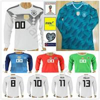 Wholesale Long Sleeves Football Jersey - 2018 Germany Long Sleeve Jersey Muller Gotze Reus Kroos Draxler Neuer OZIL HUMMELS BOATENG Home Road World Cup Soccer Football Shirt