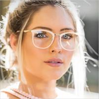 gözlük çerçeveleri kedi gözü toptan satış-Şeffaf kedi göz Güneş Gözlüğü Çerçeveleri Kadınlar Için Temizle Moda Gözlükler Sahte Optik Gözlük Çerçeveleri Miyopi Cam Gözlükler Gözlük