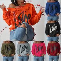 Wholesale hoodies sweatshirts dhl resale online - Valentine s day T shirt Hoodie Women s Sexy Off Shoulder Long Sleeve Sweatshirt Love Letter Printed Loose Pullovers Tops Colors DHL free