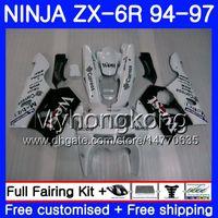 Wholesale 1996 kawasaki zx6r fairings black for sale - Bodys For KAWASAKI NINJA ZX CC ZX R HM ZX600 ZX636 ZX R White west black ZX6R Fairing