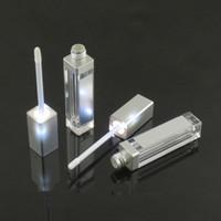 lippenglanzspiegel großhandel-7.5ML LED-Licht-Lipgloss-Flaschenbehälter mit Spiegel befestigtem LED-Lipgloss-Fall leeres kosmetisches Paket