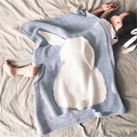 Wholesale cute baby girl bedding resale online - Baby Blanket Cute Rabbit Knitted Blanket Children s Baby Kids Boys Girls Cotton Bed Blanket Super Soft BedSpread Sofa Air Mantas