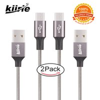 mikro usb kablo paketi toptan satış-Kalite Kiirie Mikro USB kablosu Dayanıklı Şarj Kabloları 2 Paket 0.5 m 1.5 m Naylon Örgülü 6000 + Viraj Ömrü Gri örgü mikro usb kablosu 2.4A