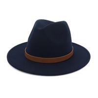 d092cde26b96d Men Women Wide Brim Wool Felt Vintage Panama Fedora Hat Fashion Jazz Cap  Leather Decoration Floppy Gambler Chapeau