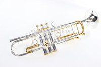 Wholesale carved plate for sale - Group buy LT180S Trumpet B Flat Durable Brass Bb Trumpet Exquisite Carved With Silver Plated Mouthpiece With Gloves Box Adjustable Strap Trompeta
