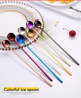 Wholesale long iced tea spoons - Long Handle Ice Tea Coffee Mixing Spoons Multicolor 304 Stainless Steel 24CM Integrated Production Dessert Spoon