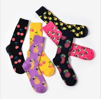 Wholesale new designs oil paintings resale online - New Spring New lovers Retro sock Art Abstract Oil Painting Colored fruit pineapple cherry Design Socks for Wedding Gift