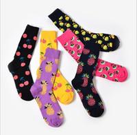 soyut sanat kaynağı toptan satış-Yeni 2018 Bahar Yeni severler Retro çorap Sanat Soyut Yağlıboya Düğün için Renkli meyve ananas kiraz Tasarım Çorap Hediye