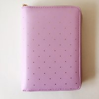 Wholesale free spiral notebook shipping for sale - Group buy Dokibook A5 A6 mint white notebooks Zipper Dot time planner school PU Leather notebook Spiral Diary books Agenda