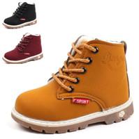 invierno botas de piel niños al por mayor-Botas de nieve de piel cálida Zapatos para niñas niños Botas Martin Botas inferiores suaves para bebés Botines Otoño Invierno Botas Zapato KIDS-7154