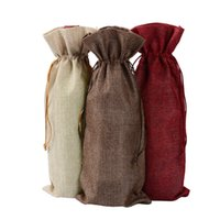 Wholesale drawstring pouch burlap for sale - Group buy New Jute Wine Bags Champagne Wine Bottle Covers Gift Pouch burlap Packaging bag Wedding Party Decoration Wine Bags Drawstring cover