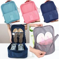 Wholesale storage pouch for shoes resale online - Waterproof Shoes Bags Storage Organizer Pouch Pocket Bag New Handle Nylon Zipper Bags For Clothes In Travel Outdoor Colors HH7