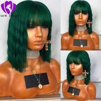 pelucas de color para mujer al por mayor-Moda ondulado verde oscuro sintético corto encaje frente pelucas con flequillo para mujer 150 densidad natural brasileña del pelo completo encaje frente pelucas