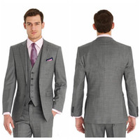Wholesale Cheap Wool Pants - Vintage Cheap Slim Fit Two Buttons Formal Best Man Wedding Suits Groom Tuxedos Gray Classic Wedding Tuxedos (Jacket+Pants+Tie+Vest)