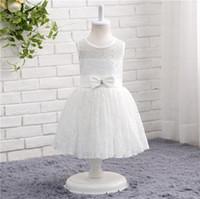 fildişi çay uzunluğu bahçe elbisesi toptan satış-Fildişi, Beyaz Dantel Çiçek Kız Elbise Çay Boyu Yaz Bahçe Tarzı Dantel Kızların Parti Elbiseler Ucuz Yeni Geliş Ücretsiz Kargo