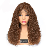 Wholesale thick human hair wigs resale online - 8a Lace Front Wigs Brazilian Remy Human Hair Thick Density Curly Wigs Natural Hairline With Baby Hair